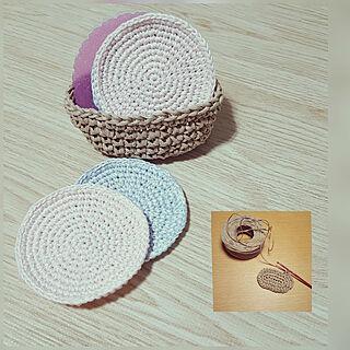 女性34歳の家族暮らし3LDK、コースター編み編みに関するeriさんの実例写真