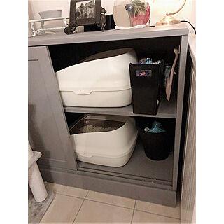 猫用トイレ/ワントーン/ねこと暮らす/IKEA/猫...などのインテリア実例 - 2020-02-22 01:31:26
