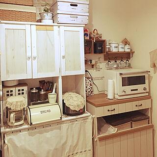 キッチン/飾り棚/カフェカーテンで目隠し/キッチン雑貨/キッチン収納...などのインテリア実例 - 2019-01-31 09:08:40