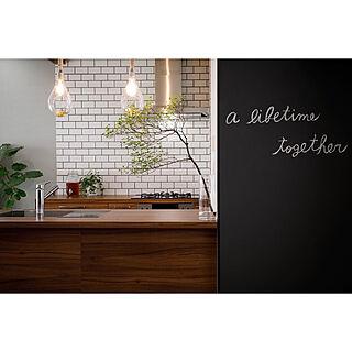 黒板アート/ペンダントライト/タイルキッチン/グラフテクト/キッチンのインテリア実例 - 2020-09-20 10:18:56