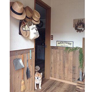玄関/入り口/足場板腰壁/帽子ディスプレイ/帽子掛け/古材...などのインテリア実例 - 2017-08-06 14:35:27
