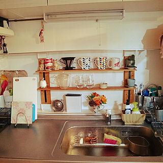 キッチン/ディアウォール/食器棚/ナチュラル/100均棚受け...などのインテリア実例 - 2017-11-24 18:25:17