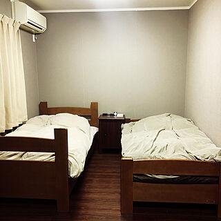 ベッド周り/ニトリのカーテン/IKEAベッドサイドテーブル/無印良品/二段ベッド...などのインテリア実例 - 2018-02-03 07:33:47