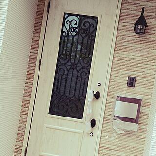 玄関/入り口/アンティーク風に。/自己満足の世界/おきにいり空間/タイルはピンク...などのインテリア実例 - 2014-08-16 15:58:27