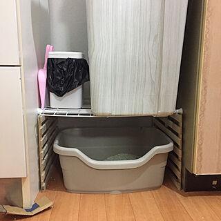 キッチン/猫のトイレスペース/ネコのトイレ/ゴミ箱の下/突っ張り棒のインテリア実例 - 2018-07-19 04:19:52