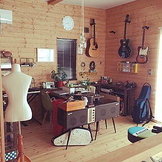 レコードプレーヤー/ギター/趣味部屋/BESSの家/ワンダーデバイス...などのインテリア実例 - 2016-02-04 09:09:39