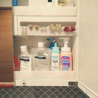 女性35歳の家族暮らし、洗面台 鏡に関するakiさんの実例写真