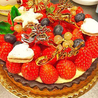 キッチン/クリスマスケーキ/いちごのタルト/Xmas★のインテリア実例 - 2016-12-26 00:20:50