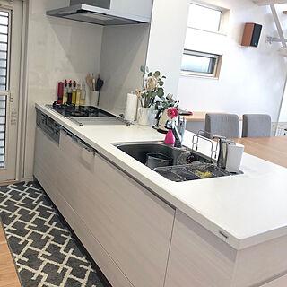 キッチン/白いキッチン/オープンキッチン/清潔感あるキッチンに/グレーインテリア...などのインテリア実例 - 2018-01-06 12:20:53