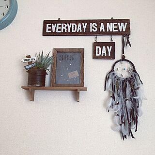 壁/天井/リメ缶/自作ステンシルプレート/yunさんのドリームキャッチャー♥️/セリア...などのインテリア実例 - 2017-06-19 06:40:38