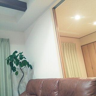 女性家族暮らし4LDK、革のソファに関するicchiさんの実例写真