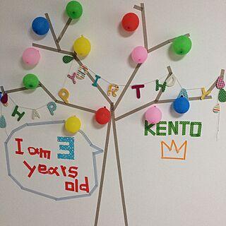 壁/天井/誕生日/ガーランド/風船/マスキングテープ...などのインテリア実例 - 2015-07-13 19:34:42