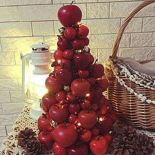 棚/イルミネーションツリー/アップル♥️/クリスマスの飾り/クリスマスツリー...などのインテリア実例 - 2017-10-31 07:49:34