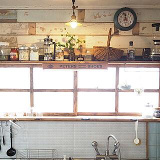 棚/モザイクタイル風リメイクシート/リメイクシート/セルフリノベーション/カフェ風キッチン♡...などのインテリア実例 - 2018-12-11 23:19:18