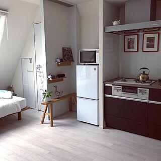 電子レンジ/冷蔵庫/掃除/壁に付けられる家具/一人暮らし...などのインテリア実例 - 2019-04-27 23:45:22