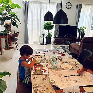 部屋全体/グリーンのある暮らし/ペンダントライト/ウンベラータ/夏休みの宿題...などのインテリア実例 - 2018-08-27 15:00:27