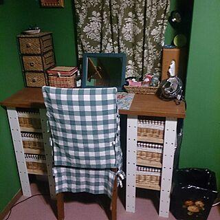 机/DIY/一人暮らし/化粧スペース/手作りカーテン...などのインテリア実例 - 2015-04-05 02:06:02