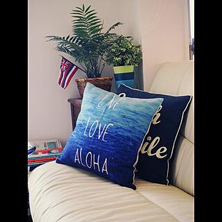 クッションカバー/ベッド周り/ハワイ大好き/コースタルインテリア/ハワイ州旗...などのインテリア実例 - 2017-09-12 23:00:32