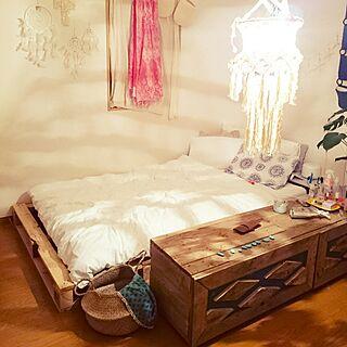 ベッド周り/ボヘミアンビーチインテリア/一人暮らし/1K/アーバンアウトフィッターズ...などのインテリア実例 - 2017-07-10 00:17:45