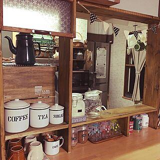 棚/食器乾燥機隠し/カフェ風に憧れる。/ホーローキャニスター/カウンター上のDIY棚...などのインテリア実例 - 2016-12-21 06:18:50