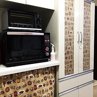 キッチン/炊飯器隠し/トースター/電子レンジ/カフェカーテン風...などのインテリア実例 - 2016-08-22 23:27:22