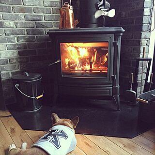 リビング/ブラック/まきストーブ/愛犬/フレンチブルドッグのインテリア実例 - 2017-02-18 16:21:18
