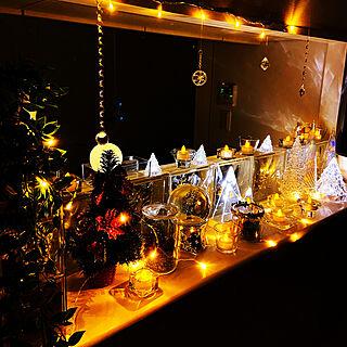 雑貨屋さんのLEDライト/ガラスのキャンドルホルダー/キャンドル/ガラスツリー/クリスマス...などのインテリア実例 - 2019-12-16 18:59:04