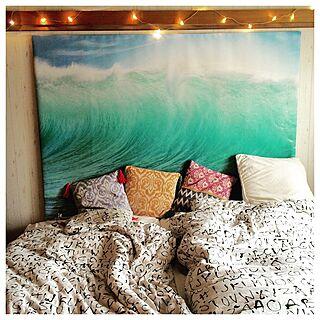 ベッド周り/海の絵/波の絵/イケア/IKEA...などのインテリア実例 - 2016-06-17 18:00:49
