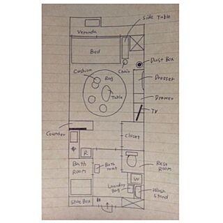 部屋全体/間取り図/8畳 ワンルームのインテリア実例 - 2014-06-22 01:24:01