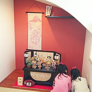 棚/てぬぐいタペストリー/床の間R/飾り棚/床の間 欅...などのインテリア実例 - 2018-02-12 15:28:56
