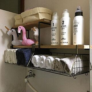 女性44歳の家族暮らし3LDK、脱衣所収納棚に関するonokenkoさんの実例写真