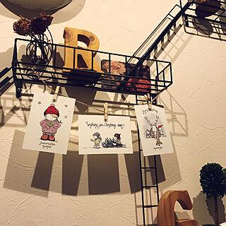 壁/天井/ポストカード/ちょっぴりクリスマス/イニシャルウッド/イニシャルオブジェ...などのインテリア実例 - 2017-12-20 21:35:06