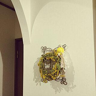 バス/トイレ/アーチ壁/廊下の壁/ミモザのリース/minne/meiさんのリース...などのインテリア実例 - 2018-04-16 21:57:35