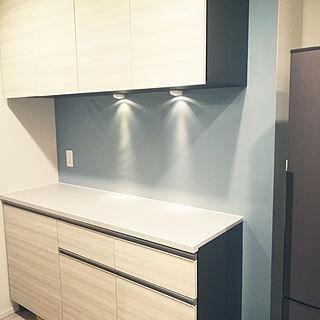 キッチン/北欧インテリア/ブルーグレー/ブルーグレーの壁/ブルーグレーの壁紙...などのインテリア実例 - 2018-01-11 15:05:33
