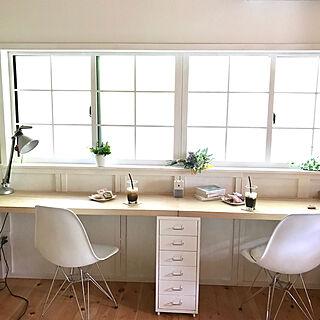 格子窓DIY/ワークデスクDIY/腰壁DIY/ルーチェプラン/デコ窓...などのインテリア実例 - 2019-06-13 08:50:58
