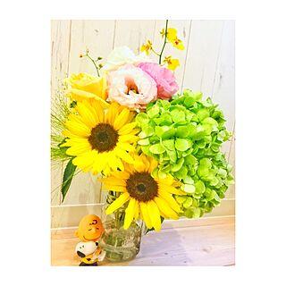 女性32歳の家族暮らし2LDK、メイソンジャーを花瓶に。。。に関するshiningheroさんの実例写真