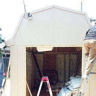玄関/入り口/DIY/グリーンベル/組み立て式木製ガレージ/ワンルーム 6畳...などのインテリア実例 - 2017-05-20 13:02:09