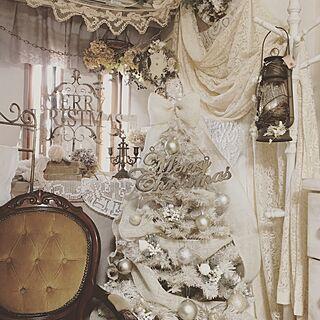リビング/アンティークチェア/アンティークレース/クリスマスディスプレイ/ホワイトツリー...などのインテリア実例 - 2016-11-14 11:56:24