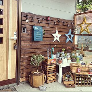 女性家族暮らし2LDK、木の樽に関するponcocoberryさんの実例写真