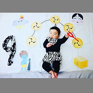ベッド周り/鬼ちゃん/小鬼さん/おひるねアート/お昼寝アート...などのインテリア実例 - 2018-02-03 15:13:29