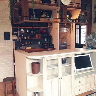 棚/オープン収納/垂れ壁撤去/キッチンセルフリフォーム/カウンター下収納DIYのインテリア実例 - 2015-07-18 07:46:15