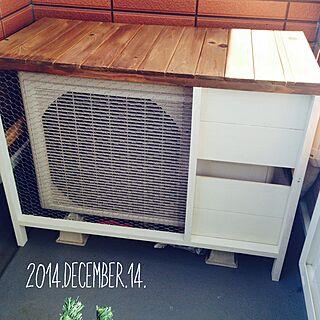 玄関/入り口/DIY/室外機カバー/狭いベランダですが.../ブログにも載せました♩のインテリア実例 - 2014-12-14 18:10:50