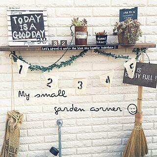 女性35歳の家族暮らし、キャンドゥの花台を黒板風に♡に関するhirari38さんの実例写真