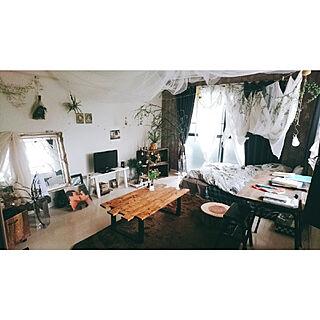 1K、一人暮らしの「部屋全体」についてのインテリア実例