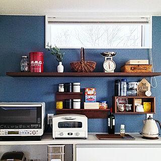 キッチン/青い壁紙/青い壁/キッチン背面/ニトリ...などのインテリア実例 - 2017-12-28 10:17:03