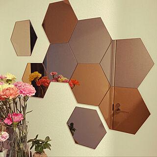 IKEA/玄関/入り口/六角形ミラー/六角形鏡/ウォール...などのインテリア実例 - 2021-01-24 16:18:00