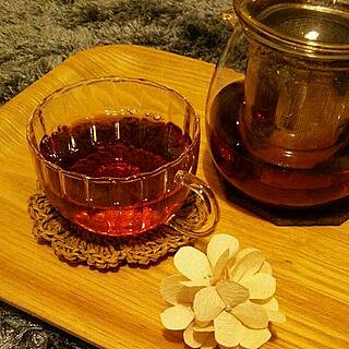 リビング/tea time/コーヒーフィルターの花/賃貸アパート/賃貸でも楽しく♪...などのインテリア実例 - 2017-11-16 22:22:18
