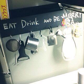 キッチン/黒板/ハンドメイド/黒板塗料/ダイソーのインテリア実例 - 2014-04-22 12:20:34