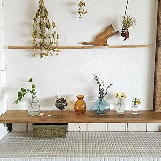 キッチン/狭小キッチン/花のある暮らし/漆喰/漆喰壁DIY...などのインテリア実例 - 2019-05-11 12:58:50