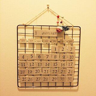 壁/天井/セリア/ワイヤーラティス/リネン風ファブリックテープ/万年カレンダー...などのインテリア実例 - 2014-12-31 17:24:51
